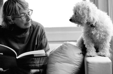 Poet Mary Oliver with a beloved canine companion